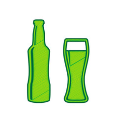 beer bottle sign lemon scribble icon on vector image