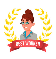 Best worker employee european woman award vector