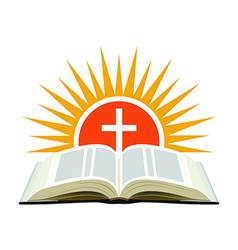 Bible sunset and cross Church logo concept vector