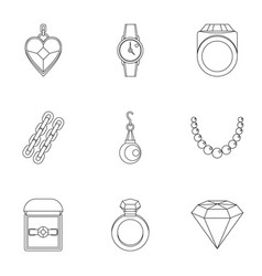 Bijouterie icon set outline style vector