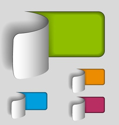 Blank paper cut out rectangle labels vector