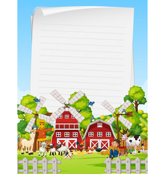 Blank paper in organic farm with animal farm set vector