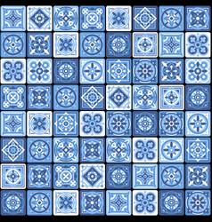 Blue portuguese ceramic mosaic tile floral vector