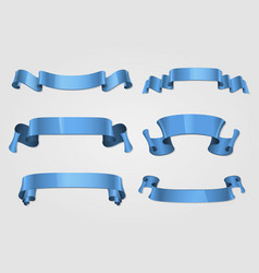 blue ribbons template design set vector image
