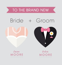 Bride and Groom heart themed wedding card vector