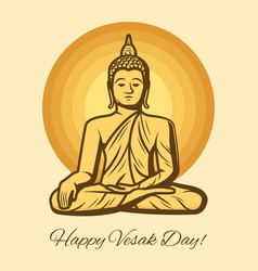 Buddha statue vesak day buddhism religion holiday vector