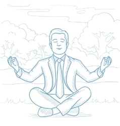 Businessman meditating in lotus pose on the beach vector image