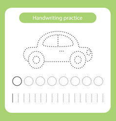 Car kids toys theme handwriting practice sheet vector