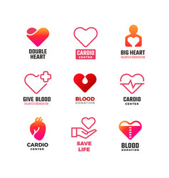 Cardiology and blood donation medical logos vector