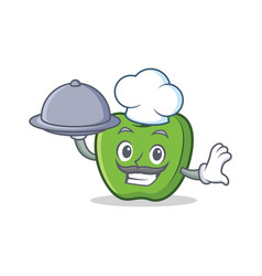 Chef with food green apple character cartoon vector