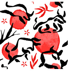 chinese new year ox seamless pattern ink animal vector image