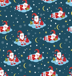 Christmas seamless pattern with Santa vector