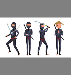 classic ninja warrior samurai in mask vector image