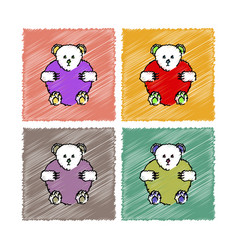 Collection of flat shading style icons teddy bear vector