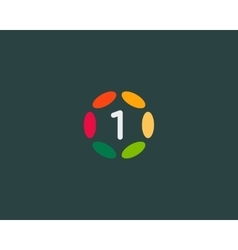Color number 1 logo icon design Hub frame vector