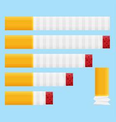 colored flat design cigarette set orange filter vector image
