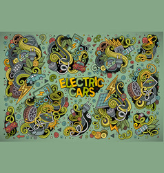 Colorful doodle cartoon set electric vector