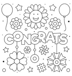 Congrats coloring page black and white vector