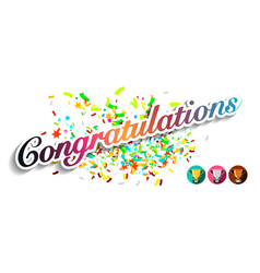 congratulations greeting card with colorful vector image