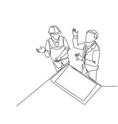 construction planning talk concept single vector image