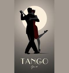 Couple dancing tango under the moon vector