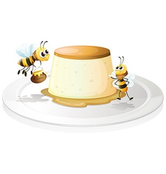 Custard and bees vector image
