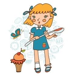 Cute girl with a huge cupcake holding a big spoon vector