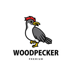cute wood pecker cartoon logo icon vector image
