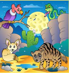 desert scene with various animals 2 vector image