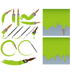 Different sizes of paintbrush and green paints vector
