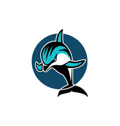Dolphin in a circle sport logo emblem vector