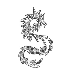 Dragons pattern coloring book for adults vector