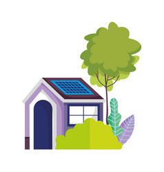 eco friendly house solar panel energy sustainable vector image