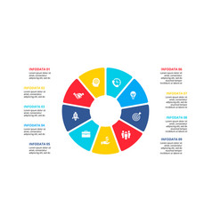 Flat circle element for infographic with 9 parts vector