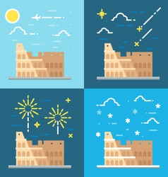 flat design colosseum italy vector image