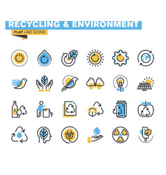 Flat line colorful icons collection of environment vector