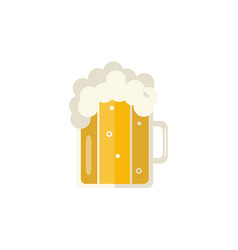 flat mug of golden beer with foam vector image