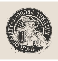 Fresh cold beer stamp vector