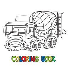 Funny concrete mixer truck with eyes coloring book vector