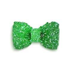 Green sparkling glitter decorated bow St Patrick vector image