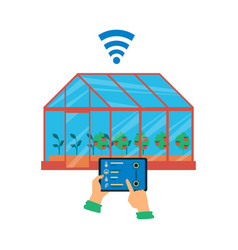 greenhouse with smart farming and automation apps vector image