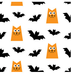 halloween seamless pattern with cats and bats vector image