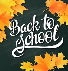 hand lettering greeting text - back to school - vector image