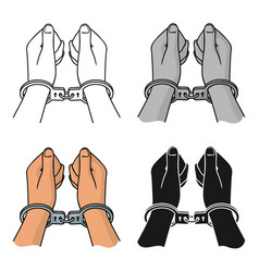 hands in handcuffs icon in cartoon style isolated vector image