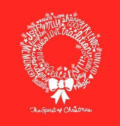 Handwritten christmas wreath card word cloud vector