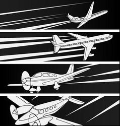 Horizontal banner of large and small aircraft vector