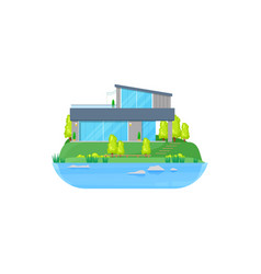 house at lake cottage or villa mansion at water vector image
