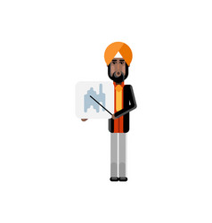 Indian man with business diagram vector