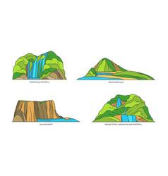 Indonesia landmarks bali lombok islands in line vector