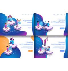 isometric online communicating virtual gaming vector image